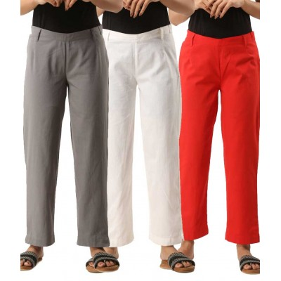 ASMANII COMBO PACK OF 3 GREY WHITE & RED COTTON CASUAL PANTS JAIPUR