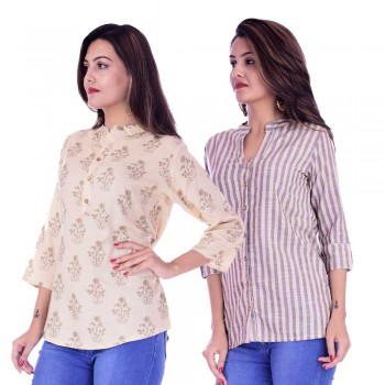 ASMANII COMBO PACK OF 2 CREAM GREY TOP & CREAM GREY STRIPED COTTON SHIRTS JAIPUR