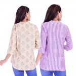 ASMANII COMBO PACK OF 2 CREAM GREY TOP & PINK BLUE STRIPED COTTON SHIRTS JAIPUR