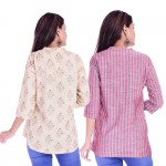 ASMANII COMBO PACK OF 2 CREAM GREY TOP & RED GREY STRIPED COTTON SHIRTS JAIPUR