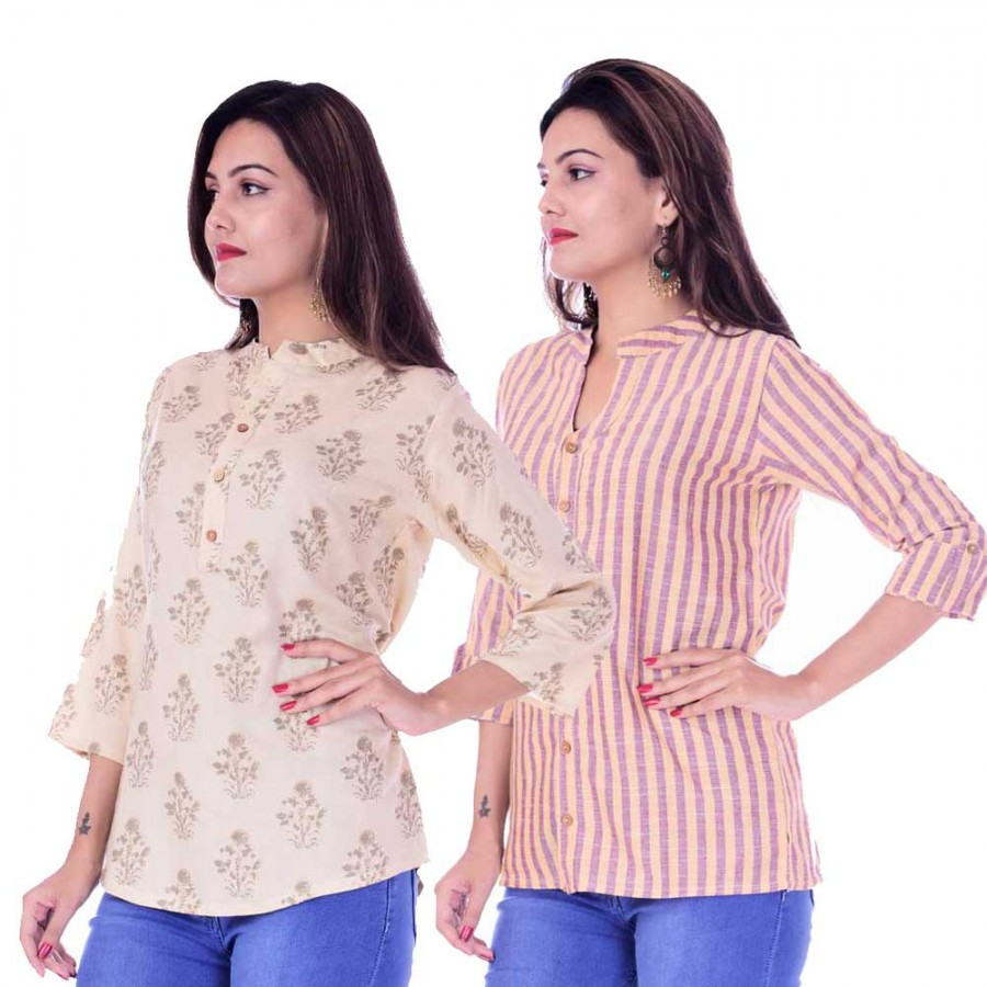 ASMANII COMBO PACK OF 2 CREAM GREY TOP & YELLOW PURPLE STRIPED COTTON SHIRTS JAIPUR