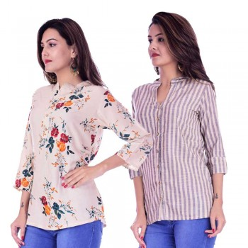 ASMANII COMBO PACK OF 2 CREAM RED TOP & CREAM GREY STRIPED COTTON SHIRTS JAIPUR
