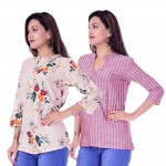 ASMANII COMBO PACK OF 2 CREAM RED TOP & RED GREY STRIPED COTTON SHIRTS JAIPUR
