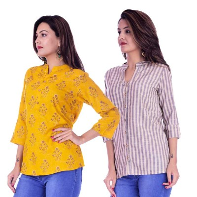 ASMANII COMBO PACK OF 2 DARK YELLOW GREY TOP & CREAM GREY STRIPED COTTON SHIRTS JAIPUR