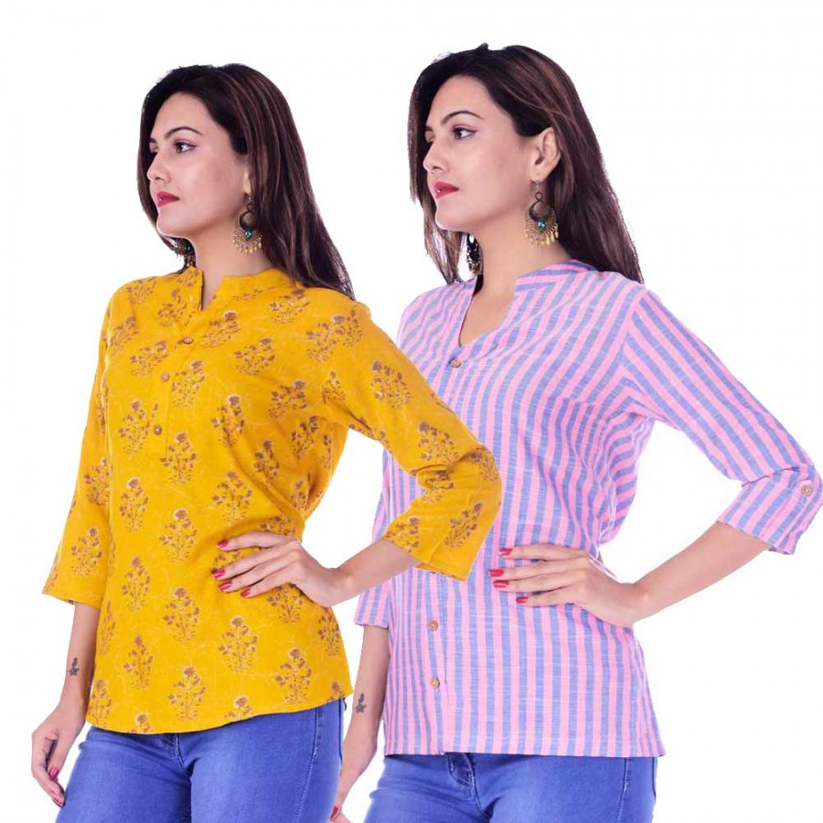 ASMANII COMBO PACK OF 2 DARK YELLOW GREY TOP & PINK BLUE STRIPED COTTON SHIRTS JAIPUR
