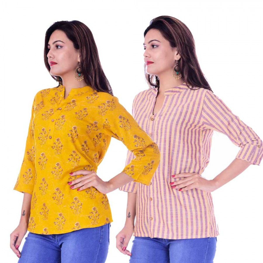 ASMANII COMBO PACK OF 2 DARK YELLOW GREY TOP & YELLOW PURPLE STRIPED COTTON SHIRTS JAIPUR