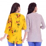ASMANII COMBO PACK OF 2 DARK YELLOW MULTI FLOWER TOP & CREAM GREY STRIPED COTTON SHIRTS JAIPUR