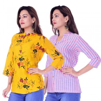 ASMANII COMBO PACK OF 2 DARK YELLOW MULTI FLOWER TOP & PINK BLUE STRIPED COTTON SHIRT JAIPUR