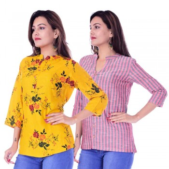 ASMANII COMBO PACK OF 2 DARK YELLOW TOP & RED GREY STRIPED COTTON SHIRTS JAIPUR