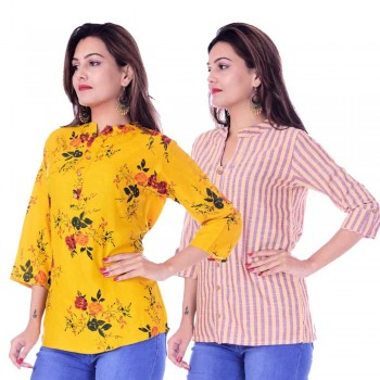 ASMANII COMBO PACK OF 2 DARK YELLOW TOP & YELLOW PURPLE STRIPED COTTON SHIRTS JAIPUR