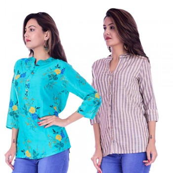 ASMANII COMBO PACK OF 2 LIGHT BLUE FLOWER TOP & CREAM GREY STRIPED COTTON SHIRTS JAIPUR