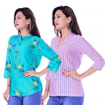 ASMANII COMBO PACK OF 2 LIGHT BLUE FLOWER TOP & PINK BLUE STRIPED COTTON SHIRTS JAIPUR