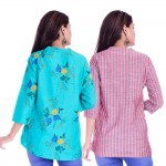 ASMANII COMBO PACK OF 2 LIGHT BLUE FLOWER TOP & RED GREY STRIPED COTTON SHIRTS JAIPUR