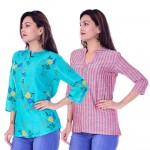 COMBO PACK OF 2 LIGHT BLUE FLOWER TOP & RED GREY STRIPED COTTON SHIRTS