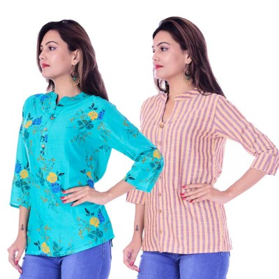 ASMANII COMBO PACK OF 2 LIGHT BLUE FLOWER TOP & YELLOW PURPLE STRIPED COTTON SHIRTS JAIPUR