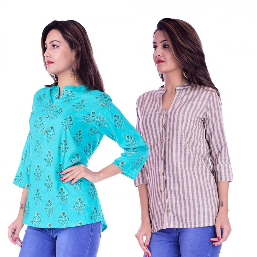 ASMANII COMBO PACK OF 2 LIGHT BLUE GREY TOP & CREAM GREY STRIPED COTTON SHIRTS JAIPUR