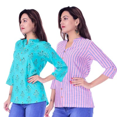 ASMANII COMBO PACK OF 2 LIGHT BLUE GREY TOP & PINK BLUE STRIPED COTTON SHIRTS JAIPUR