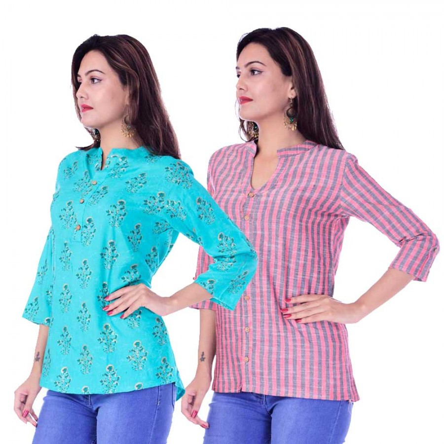 ASMANII COMBO PACK OF 2 LIGHT BLUE GREY TOP & RED GREY STRIPED COTTON SHIRTS JAIPUR