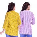 ASMANII COMBO PACK OF 2 LIGHT YELLOW GREY TOP & PINK BLUE STRIPED COTTON SHIRTS JAIPUR
