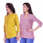 ASMANII COMBO PACK OF 2 LIGHT YELLOW GREY TOP & RED GREY STRIPED COTTON SHIRTS JAIPUR