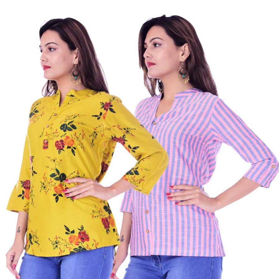 ASMANII COMBO PACK OF 2 LIGHT YELLOW  TOP & PINK BLUE STRIPED COTTON SHIRTS JAIPUR