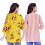 ASMANII COMBO PACK OF 2 LIGHT YELLOW  TOP & YELLOW PURPLE STRIPED COTTON SHIRTS JAIPUR