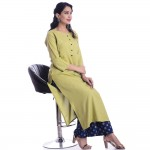 ASMANII GREEN ROUND NECK  FRONT  BUTTON KURTI JAIPUR