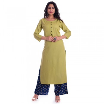 GREEN ROUND NECK  FRONT  BUTTON KURTI JAIPUR