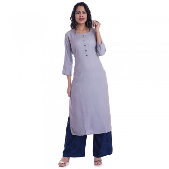 ASMANII GREY ROUND NECK FRONT BUTTON KURTI  BLUE BLACK PALAZZO SET JAIPUR
