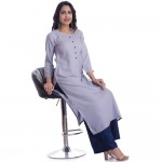 ASMANII GREY ROUND NECK FRONT BUTTON KURTI JAIPUR