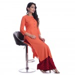 ASMANII ORANGE ROUND NECK FRONT  BUTTON KURTI  RED BLUE PALAZZO SET JAIPUR