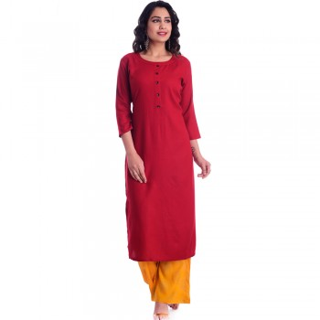 ASMANII RED ROUND NECK  FRONT BUTTON KURTI  LIGHT YELLOW GOLDEN PALAZZO SET JAIPUR