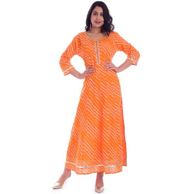 ASMANII ORANGE LAHERIYA ROUND NECK DRESS  JAIPUR