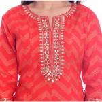 ASMANII RED LAHERIYA ROUND NECK DRESS  JAIPUR