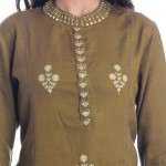 ASMANII MAHINDI COLOR HANDWORK KURTI WITH SKIRT SET JAIPUR