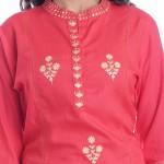 ASMANII DARK PINK HANDWORK WOMEN KURTI WITH  SKIRT SET JAIPUR
