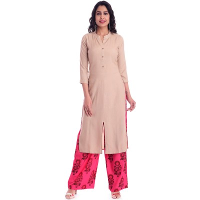 ASMANII CHIKU FRONT CUT KURTI WITH PINK BROWN PRINTED PALAZOO SET JAIPUR