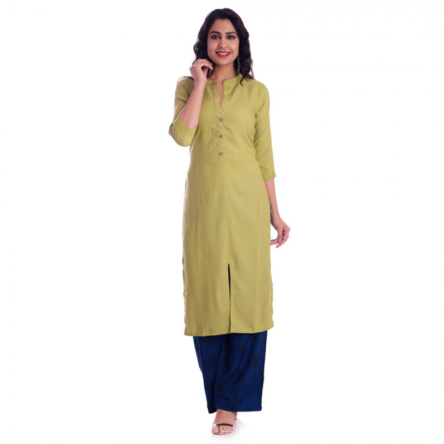 ASMANII GREEN FRONT CUT KURTI WITH BLUE BLACK PALAZZO SET JAIPUR