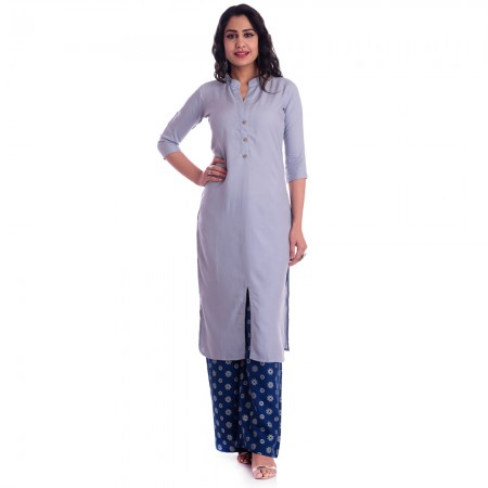 ASMANII GREY FRONT CUT KURTI BLUE WHITE PALAZZO SET JAIPUR
