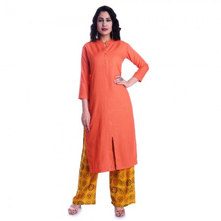 ASMANII ORANGE FROUNT CUT KURTI  YELLOW MULTICOLOR PALAZOO SET JAIPUR