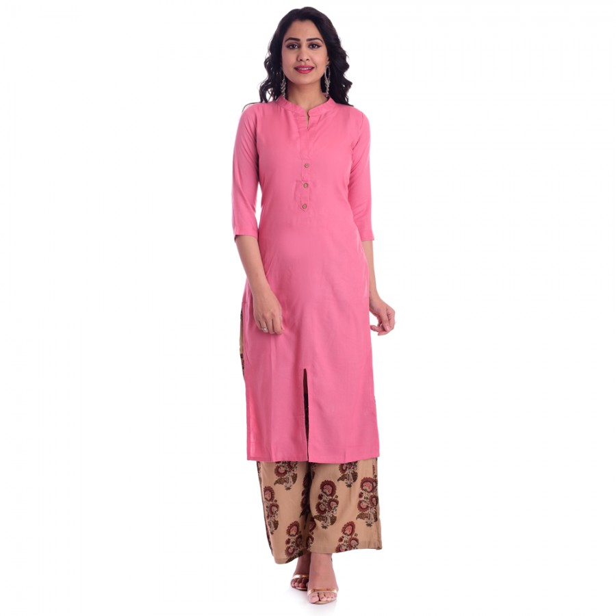 PINK RAYON OPEN NECK WITH FRONT CUT KURTI JAIPUR