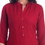 RED RAYON OPEN NECK WITH FRONT CUT KURTI JAIPUR