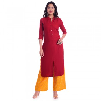ASMANII RED RAYON OPEN NECK WITH FRONT CUT KURTI JAIPUR