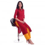 ASMANII RED FRONT CUT KURTI  YELLOW GOLDEN PALAZZO SET JAIPUR