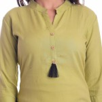 ASMANII GREEN OPEN NECK KURTI DARK BLUE GOLDEN PALAZZO SET JAIPUR