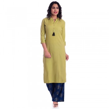 GREEN RAYON OPEN NECK KURTI JAIPUR