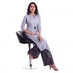 ASMANII GREY OPEN NECK KURTI  GREY FLOWER PRINTED PALAZZO SET JAIPUR
