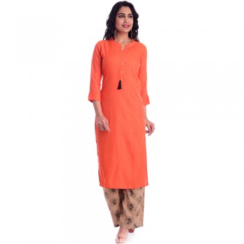 ASMANII ORANGE OPEN NECK KURTI  BROWN PALAZZO SET JAIPUR