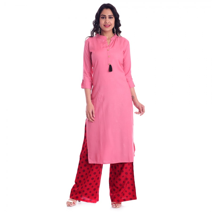 ASMANII PINK OPEN NECK KURTI  RED BLUE PALAZZOO SET JAIPUR