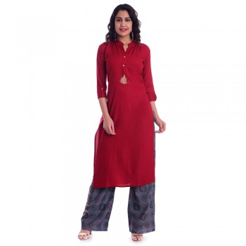 ASMANII RED OPEN NECK KURTI WITH GREY  PALAZZO SET JAIPUR
